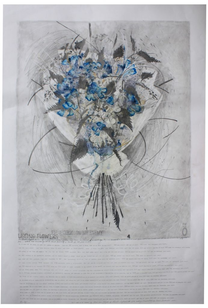 laying flowers Emma Louise Pratt 2019 graphite, pen and watercolour on paper 90 x 120cm approx
